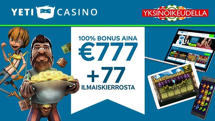 Yeti casinon tervetuliaisbonus
